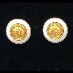 🔥NWT Vintage Large White Crest Earrings